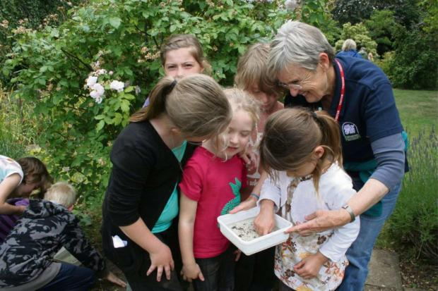 Cotswold Journal: Voluntary Warden Mary Hamilton with pupils from Ashton-under-Hill School
