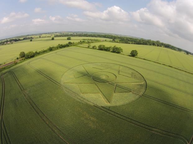 Cotswold Journal: The crop circle has appeared in a field near Pershore, photographed by Nigel Pritchett.