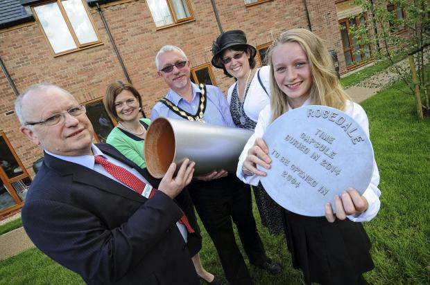 l-r Graham Spencer, Deputy Head of Development Orbit Homes, Helena Wallis, Chief Executive, Heart of England Mencap, Shipston Mayor Phillip Vial, his Consort Rachel Vial and Shipston High School pupil Holly Holcombe (Year 10).