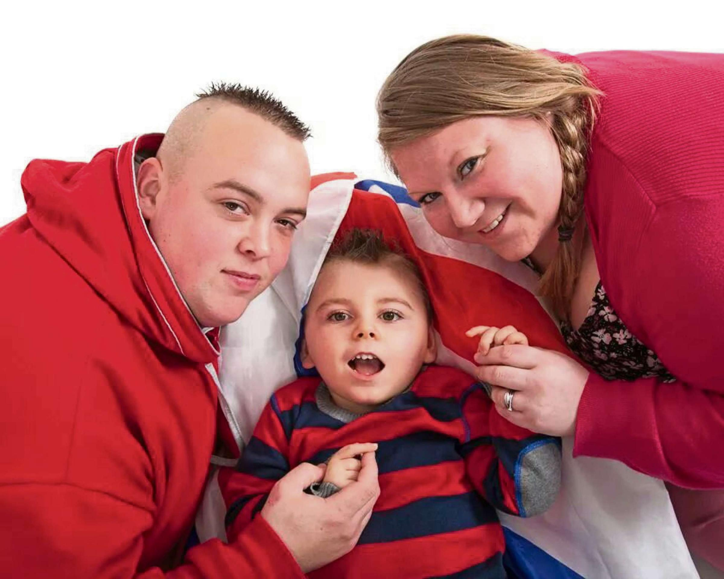 Samuel Wheatley-Hunt with his parents Darren and Natasha.