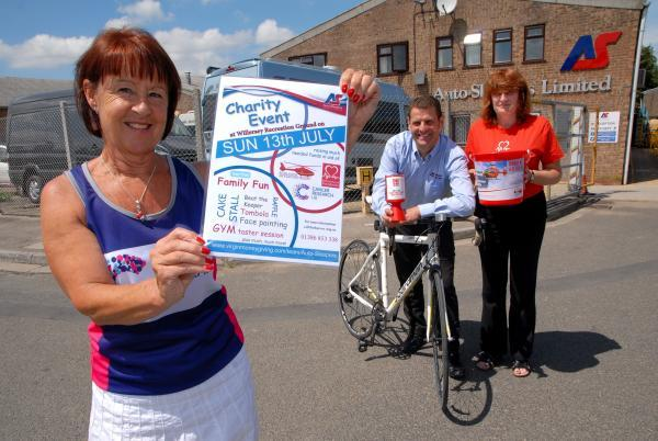 FUNDRAISER: From left, Angela Gittus, Mark Burdett and Barbara Pugh gear up for a sponsored run/cycle ride and family fun day to raise money for charity.