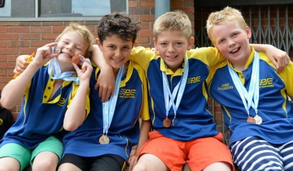 The medal-winning nine to 10 years boys' team for Pershore.