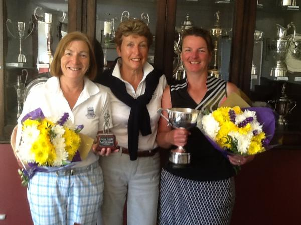 TROPHY WINNERS: Naunton Downs ladies' club champion Dawn Rimmer (right) with Barbara Watson (left), who managed the best nett score, and their captain Carol Park. Picture: VERONICA COURTNEY.