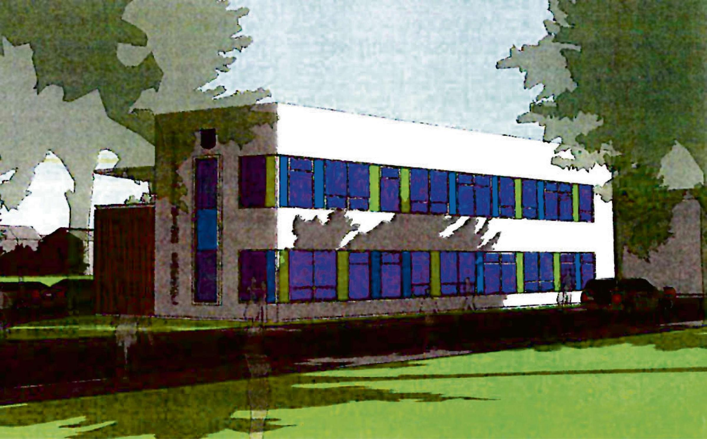 An architect's drawing of the new building