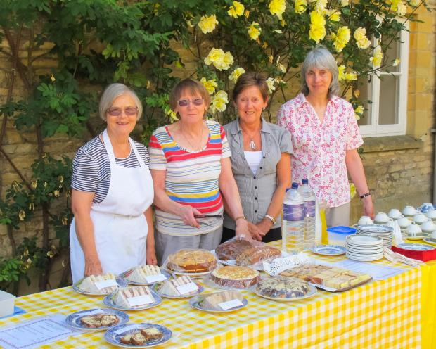 l-r Phyllis Andrews, Janet Prout, Jenny Goodwin and Maggie Boyes serve tea, sandwiches and cakes to visitors at Eyford House.
