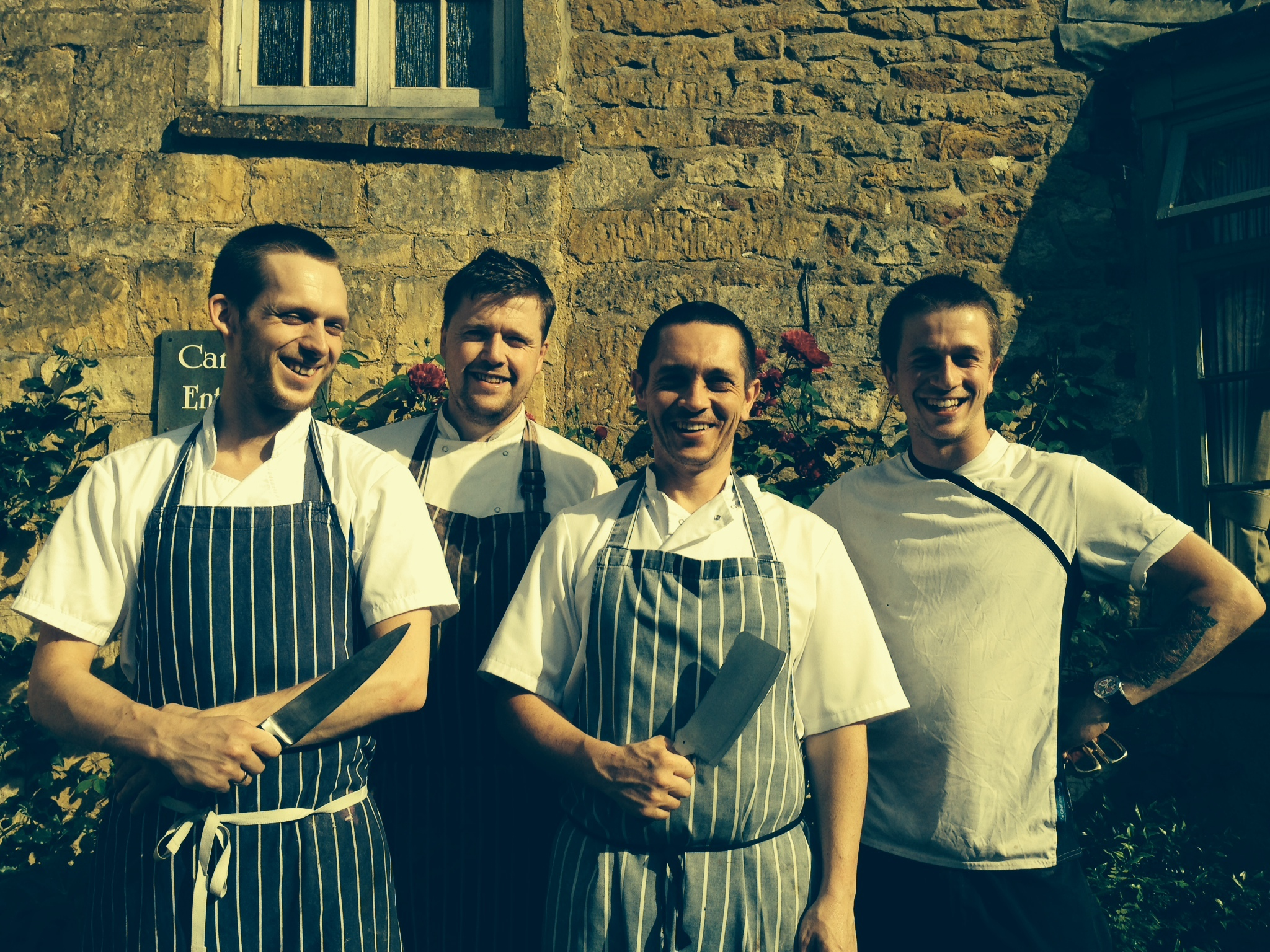 "l-r Andy ""Geordie"" Lakey, David Collins, Darral Warner and Jonny Mills (head chef ), four of the five chefs having"