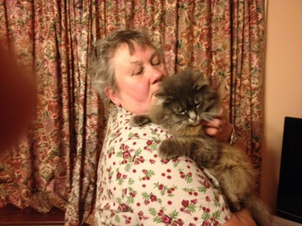 PROUD OWNER: Pauline Harris with her 24-year-old cat, PJ, who she believes may be the oldest in the world.