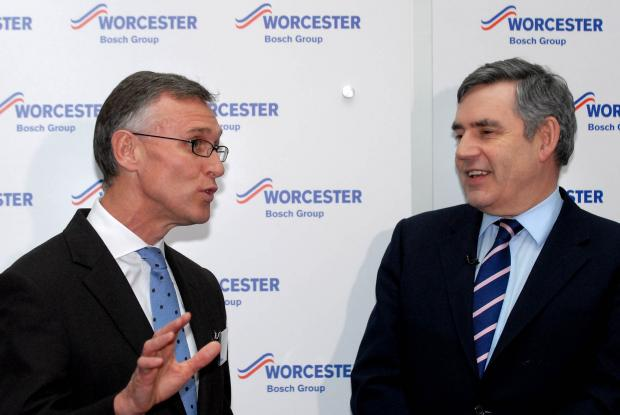 VISIT: Worcester Bosch managing director Carl Arntzen talks to former Prime Minister Gordon Brown during a visit to the company's headquarters
