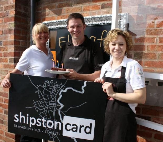 CARD SCHEME: Jim Cherry (centre) of Taste of the Country, one of creators of the Shipston Loyalty Card scheme, pictured with staff from the Food Tree and El Café