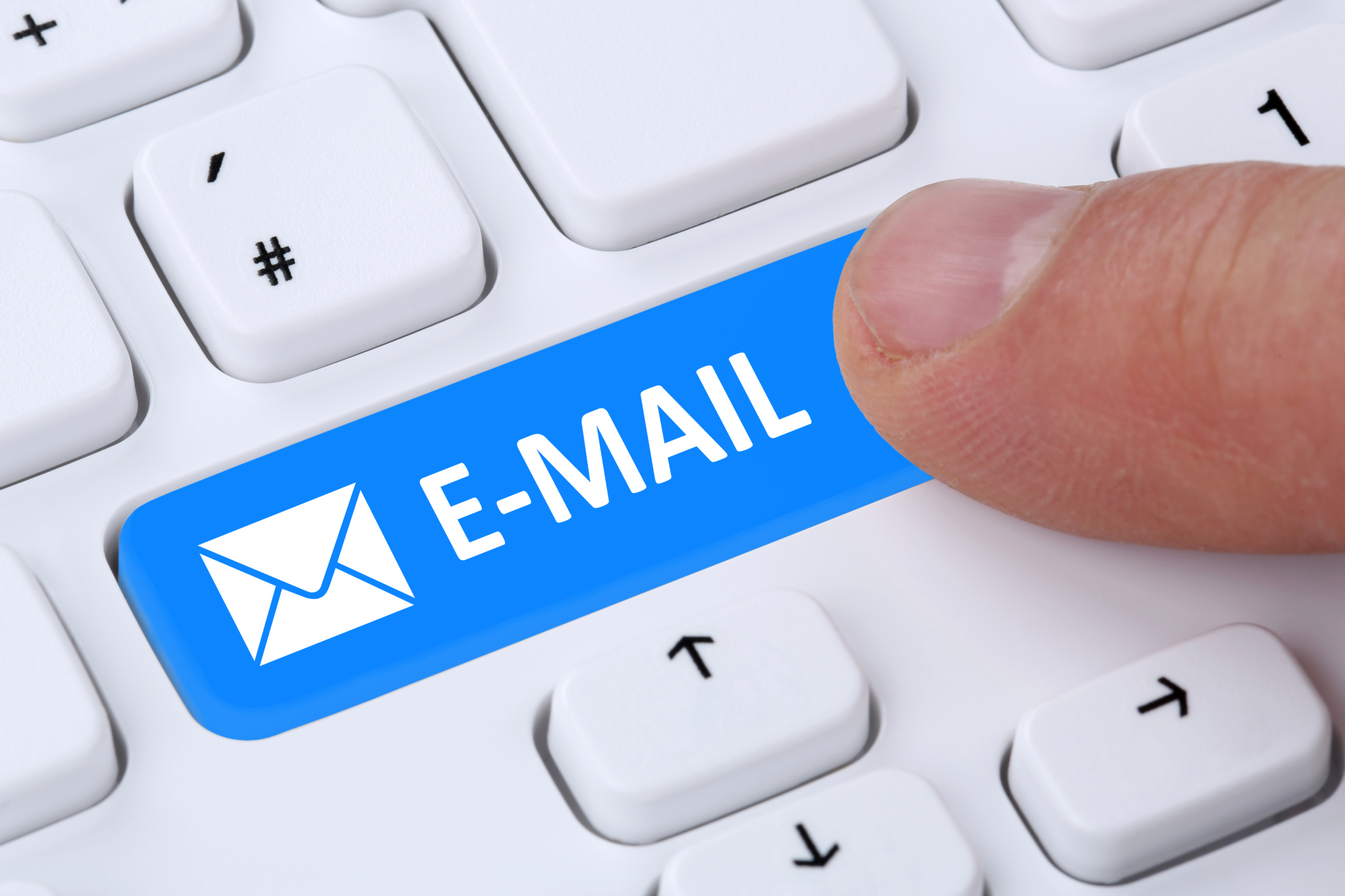 Sending E-Mail mail message by pushing button on computer keyboard with letter symbol (33114273)