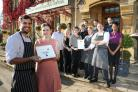 Paul Jackson 02.11.15 Mickleton - Three Ways House Hotel have been awarded an  AA Silver Star award and Rosette Award. Front from left - Dan Foxall, chef and Sarah Bellew, deputy manager.   (47314963)