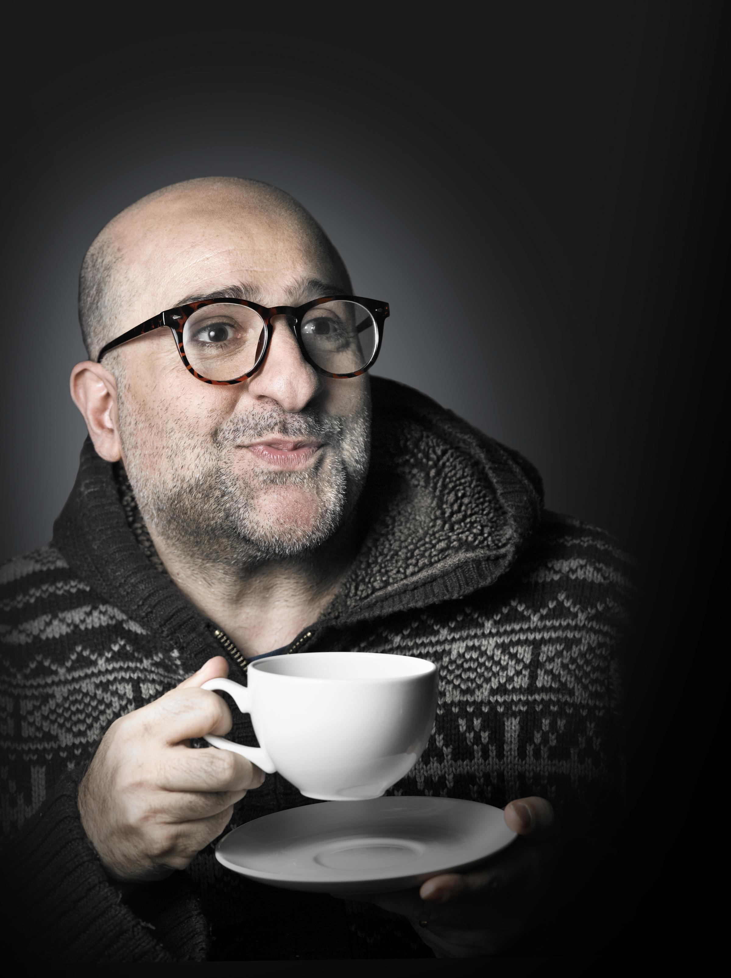 Omid consoles himself with a cuppa