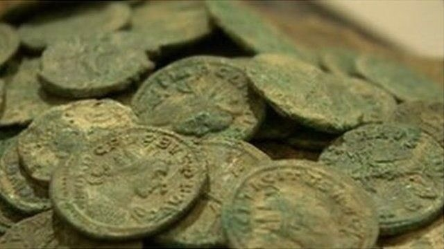 Roman coins discovered in Worcestershire in 2011