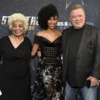 Cotswold Journal: Sonequa Martin-Green (centre) with former Star Trek actors Nichelle Nichols and William Shatner (Chris Pizzello/Invision/AP)