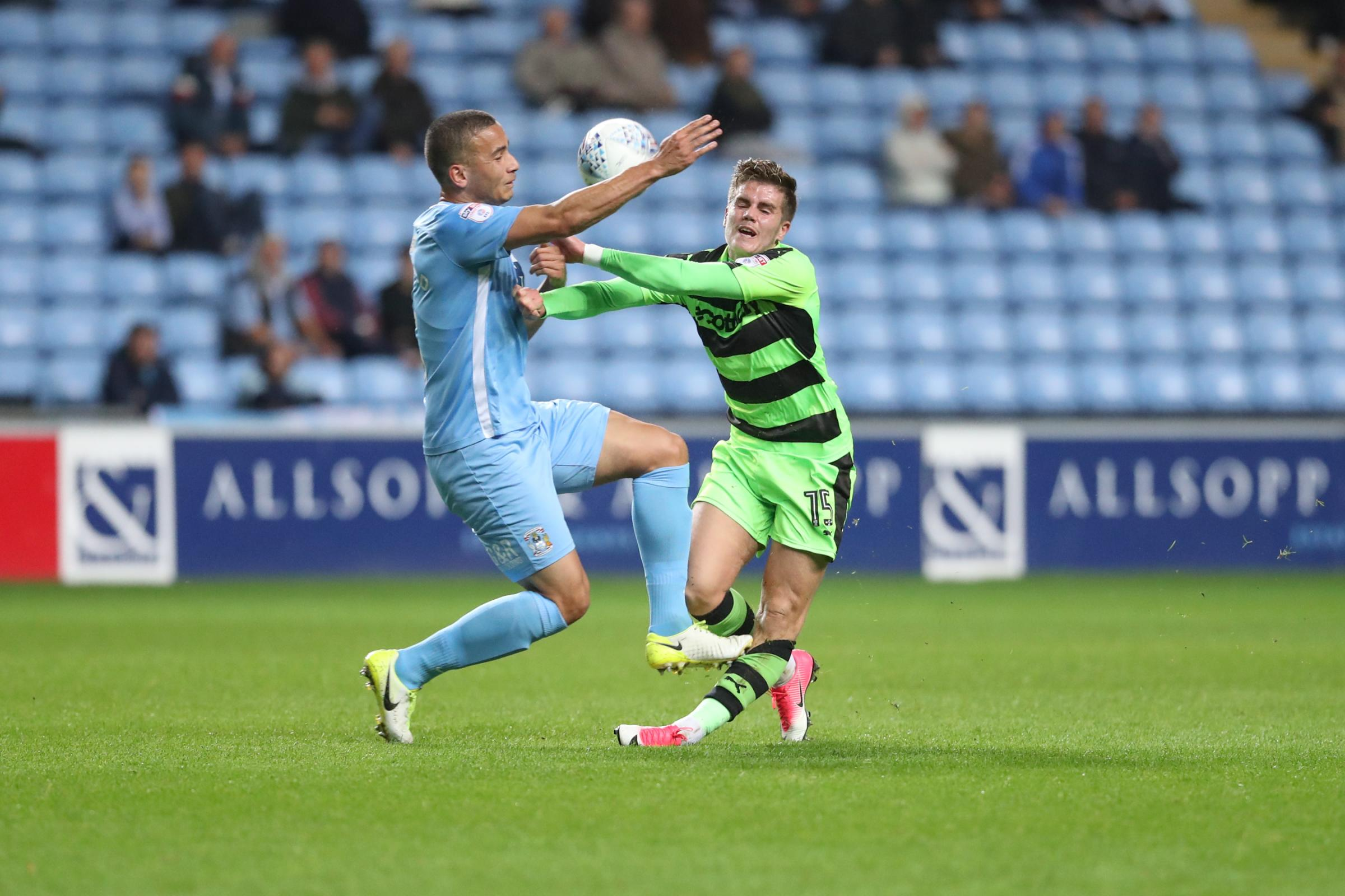 Charlie Cooper faces a lengthy absence following this horror tackle at Coventry City                              Pic: Shane Healey/ Pro Sports Images