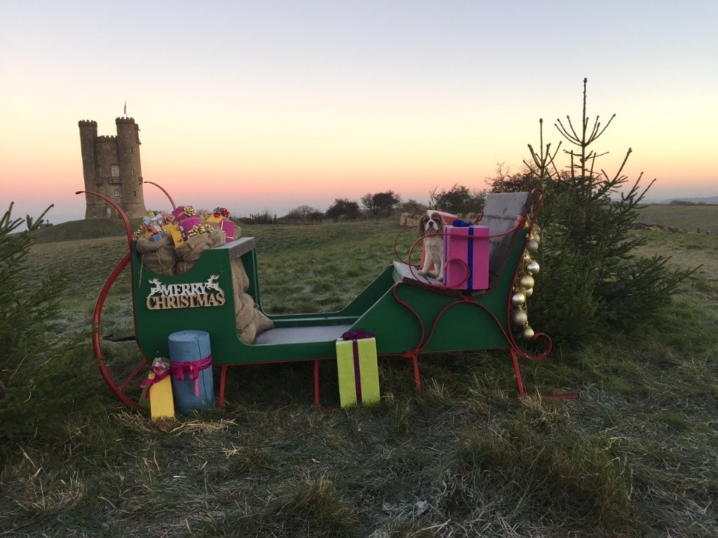 The Christmas sleigh with Broadway Tower in the background