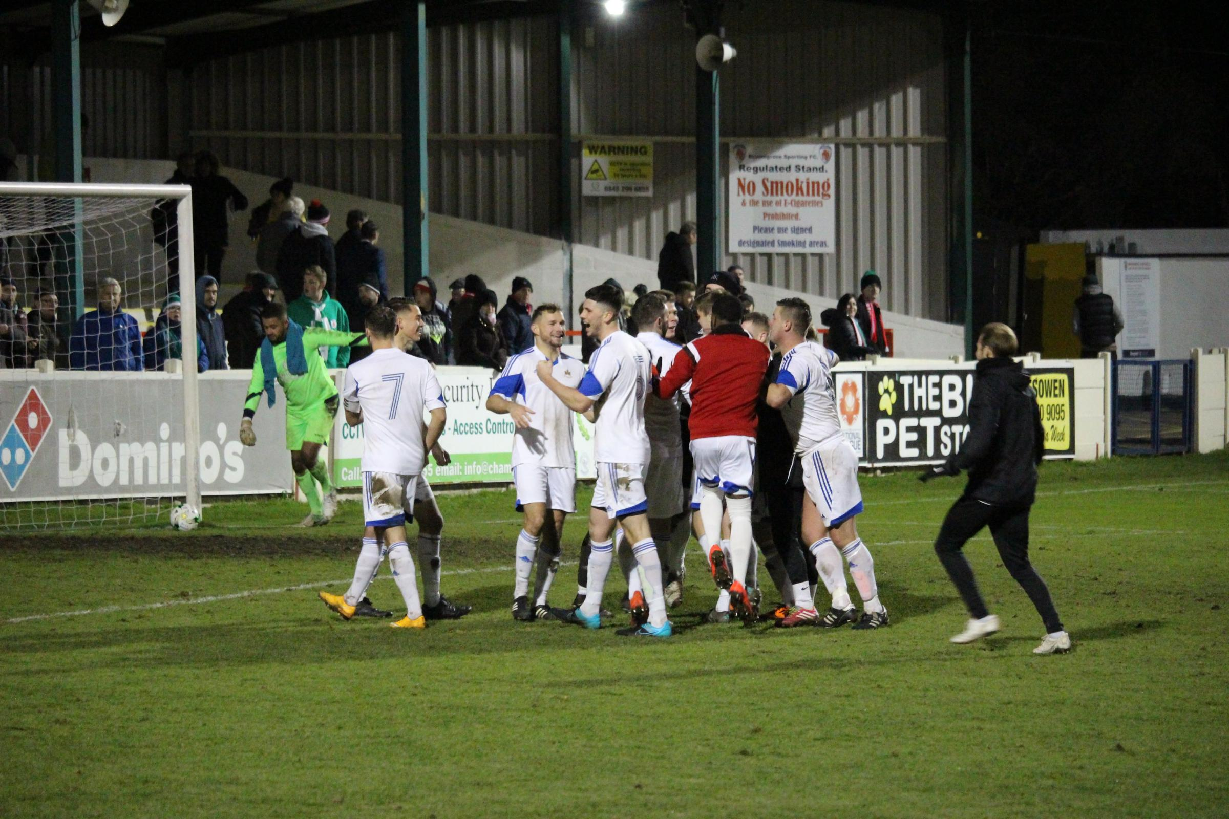 PARTY TIME: Littleton celebrate winning their penalty shootout at Bromsgrove Sporting (Picture: Geoff Hawkesworth)