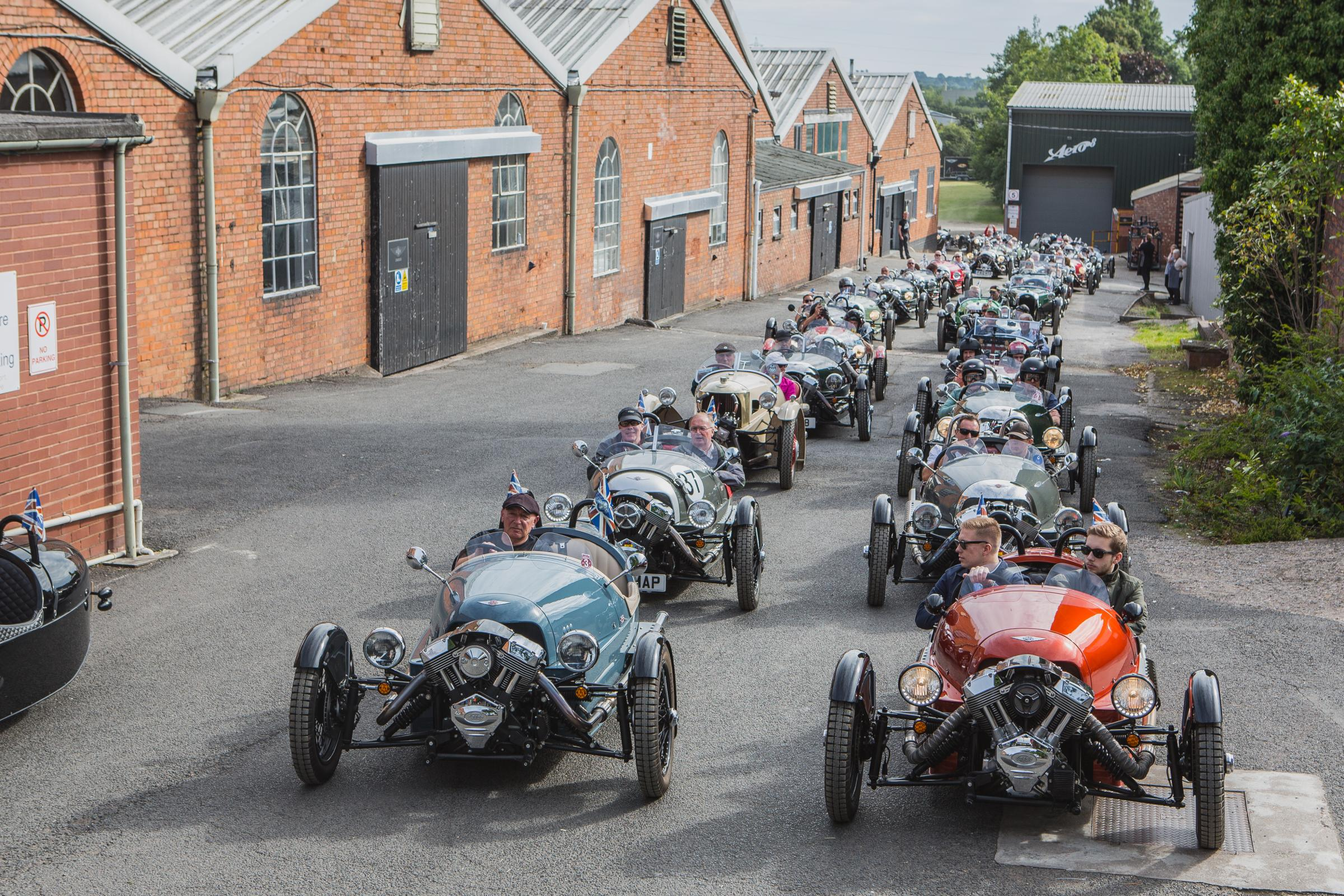 Over 50 Morgan Three-Wheelers assemble at the factory for the Run For The Hills event last year.