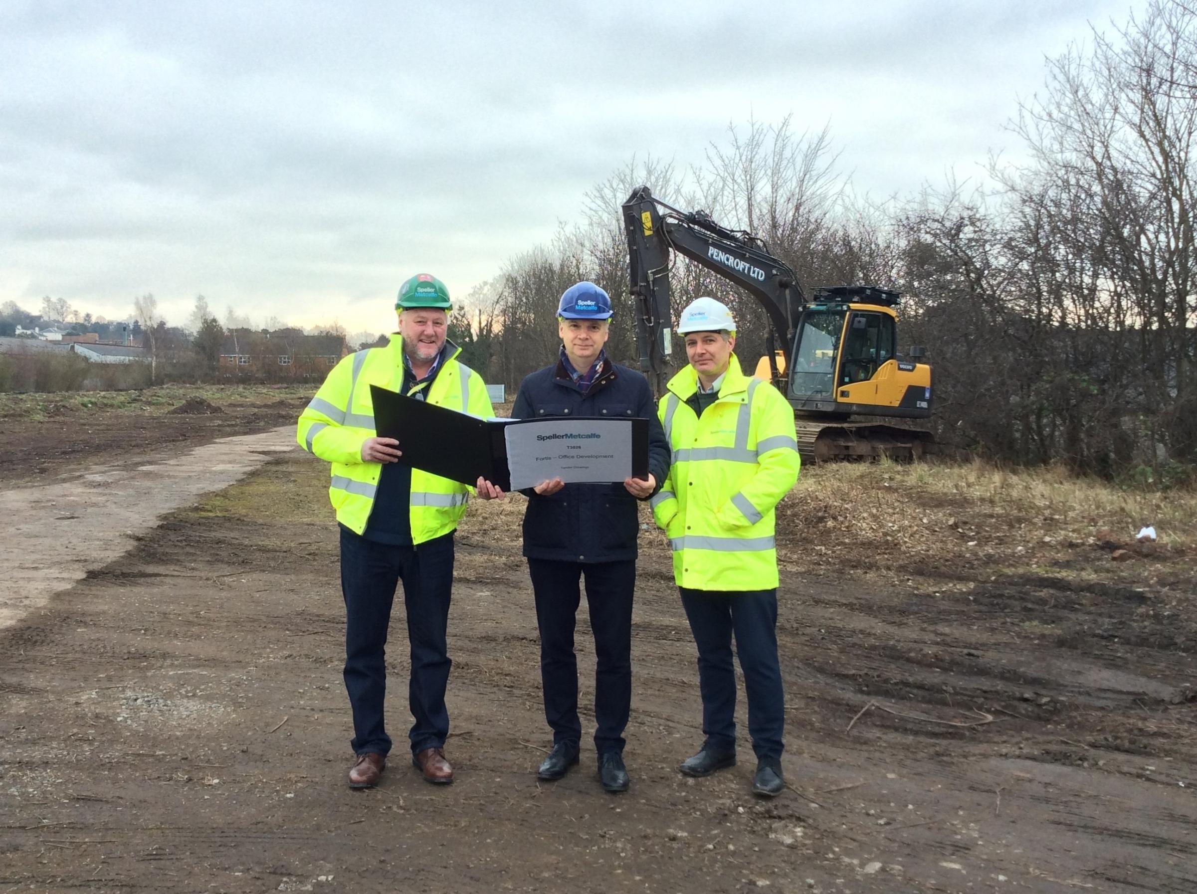UNDERWAY:Barry Woodhall, Site Manager from Speller Metcalfe, Richard Grounds, Executive Director of Growth and Investment at Fortis Living and Simon Holdsworth, Contract Manager at Speller Metcalfe, on the site of the new Fortis Living office development