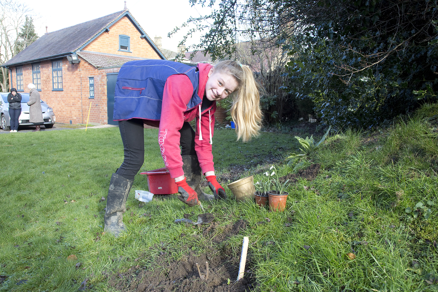 WILDLIFE FRIENDLY: Holly Slatter, 13, of Mickleton Wood Farm, planting a buddleia bush, which will attract butterflies