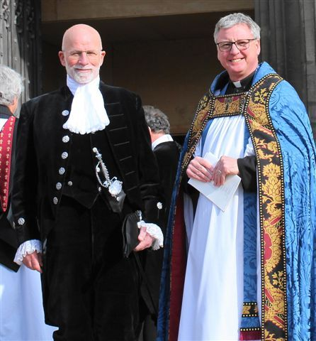 Charles Martell(left) with Reverend Stephen Lake (right). Mr Martell was inducted as High Sheriff of Gloucestershire
