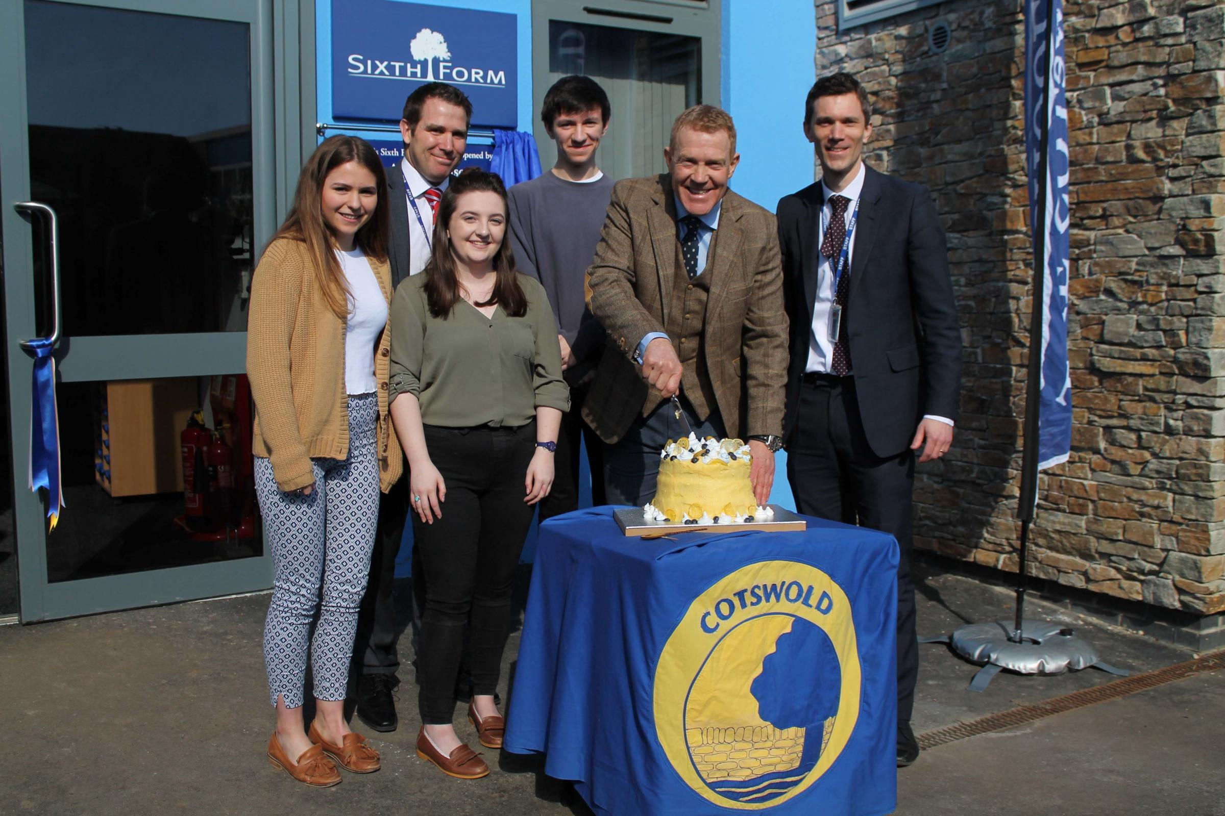 Adam Henson with Will Morgan, Phil White, Beth Hill and head boy Sam Blackma and head girl Eva Shoemark.