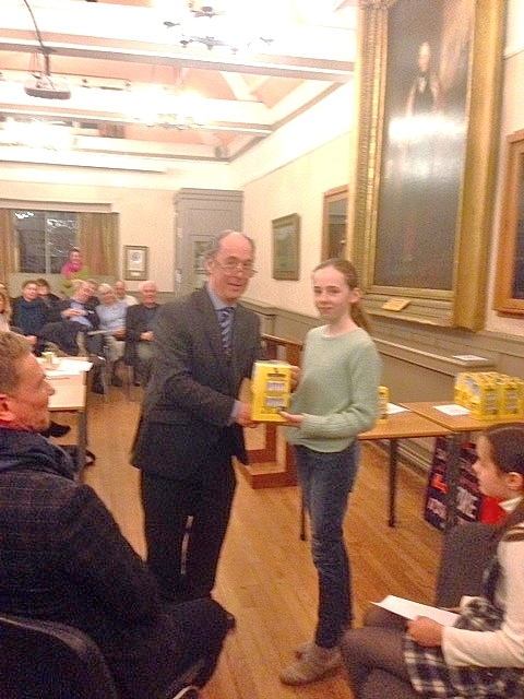 President Les Southam presents first place to Claudia Evans of St Catharines.