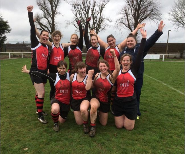 Pershore Ladies: (Back row L-R) Nadia White, Clare Kinahan, Vicki Cashmore, Jess Wheway, Sian White, Alice Keylock (coach) (front row L-R) Emma Field, Natalie Bewley, Emmie Bewley and Louisa Gardiner.