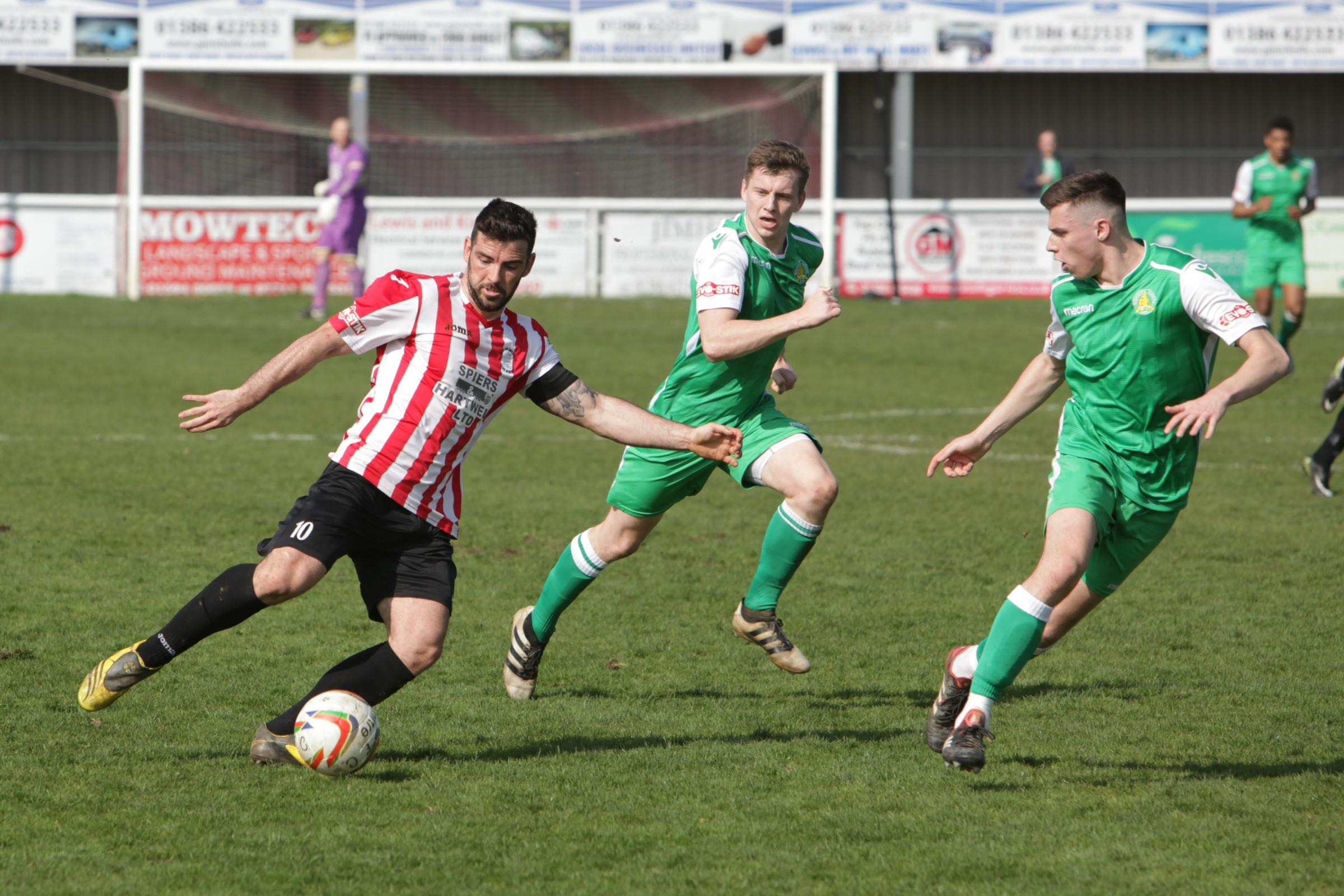 Adam Mann (left) scored twice for Evesham United. Picture: www.stuartpurfield.co.uk