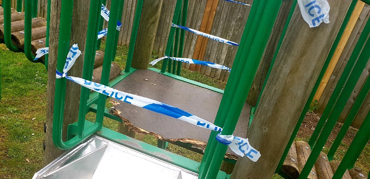 DAMAGE: Vandalism at a Bourton-on-the-Water play area. Photo: Cotswolds Police