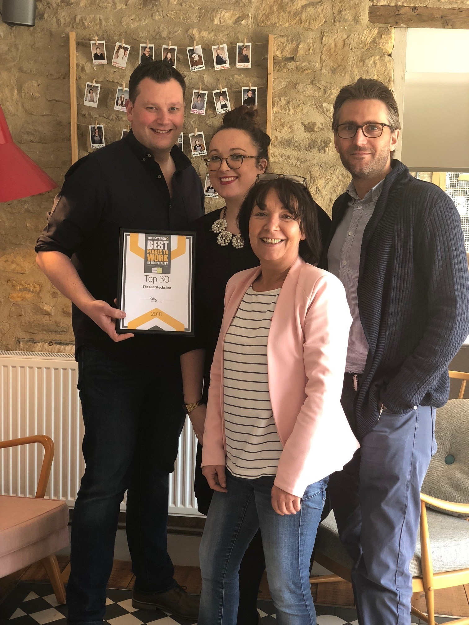 AWARD: The Old Stocks Inn team. From left to right:  Jim Cockell, owner of the Old Stocks Inn, with Charlotte Tuck, Amanda Rose and Richard Tuck