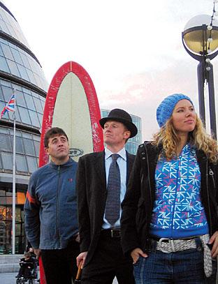 Eyes on the horizon - Jeremy Aylmer is pictured, centre, with fellow Sahara Surf members Rob Pearson and Nadga Freeman.