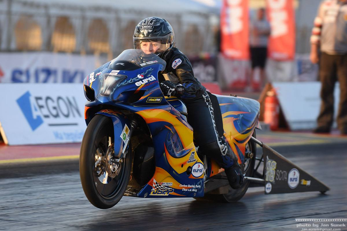 Bobby Frazier in action on her drag racing bike in Hungary. Picture: JAN SUNEK