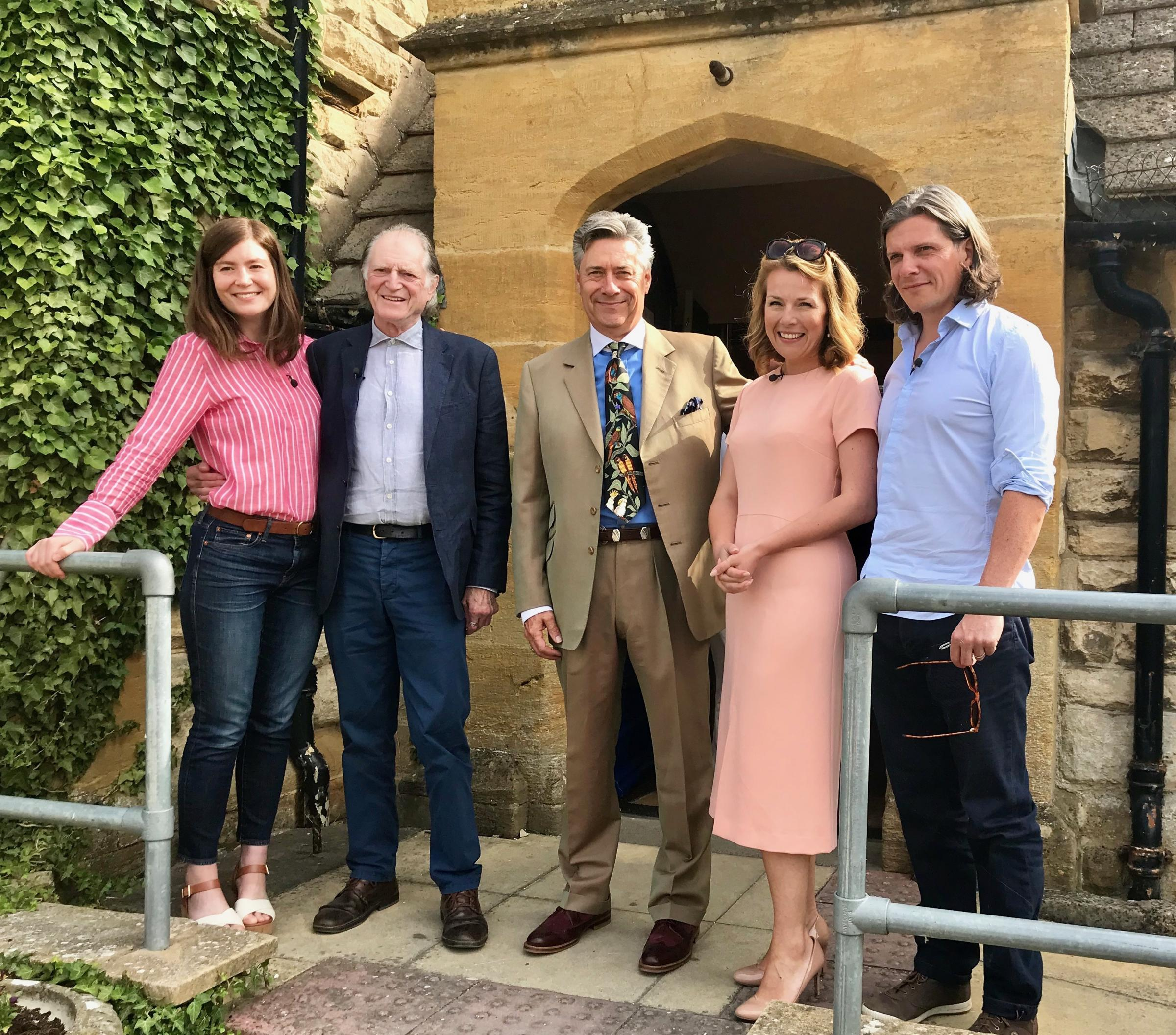 BIDDING: Auctioneer Nicholas Granger and his parrot Bella with celebrities David Bradley from Game of Thrones and Harry Potter, Nigel Harman of Downton Abbey and Eastenders together with experts Christina Trevanion and Natasha Rankin.