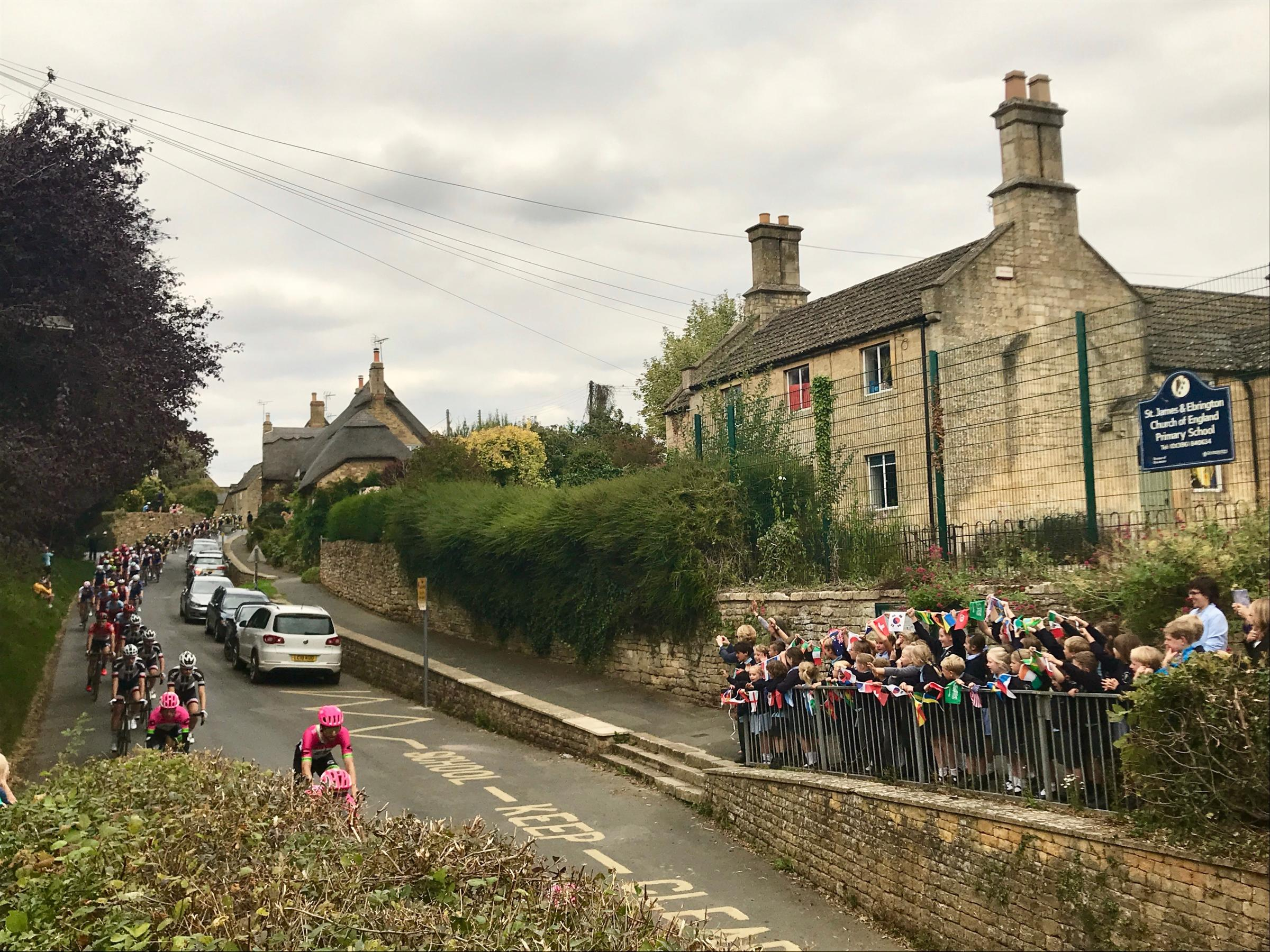 TOUR: The children loved seeing the Tour of Britain go through their village