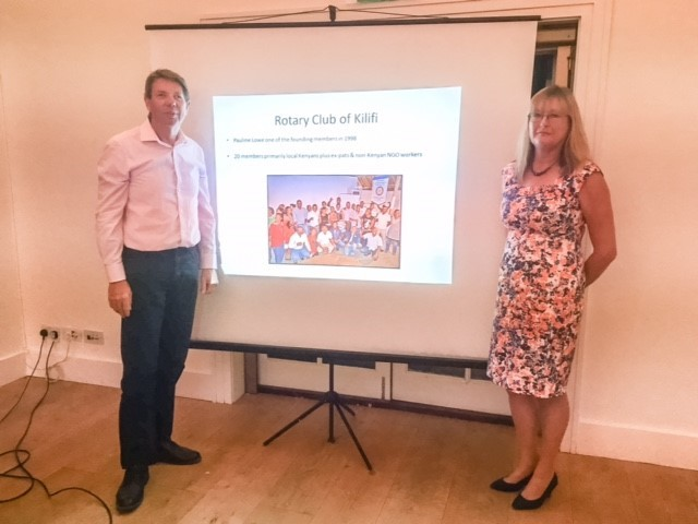 TALK: Pauline Lowe and her partner Geoff Powell at the presentation about Kalifi Rotary Club