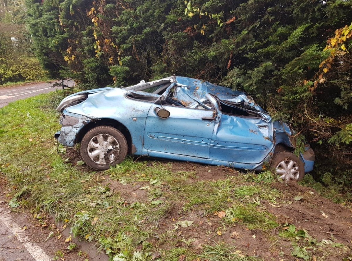 LUCKY ESCAPE: The crashed car near Moreton-In-Marsh. Picture by Cotswolds Police