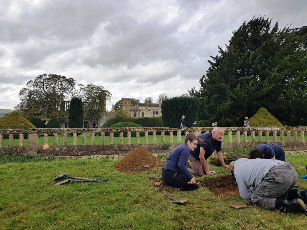DIG: A team of archaeologists un-earthing a Tudor garden at Sudeley Castle