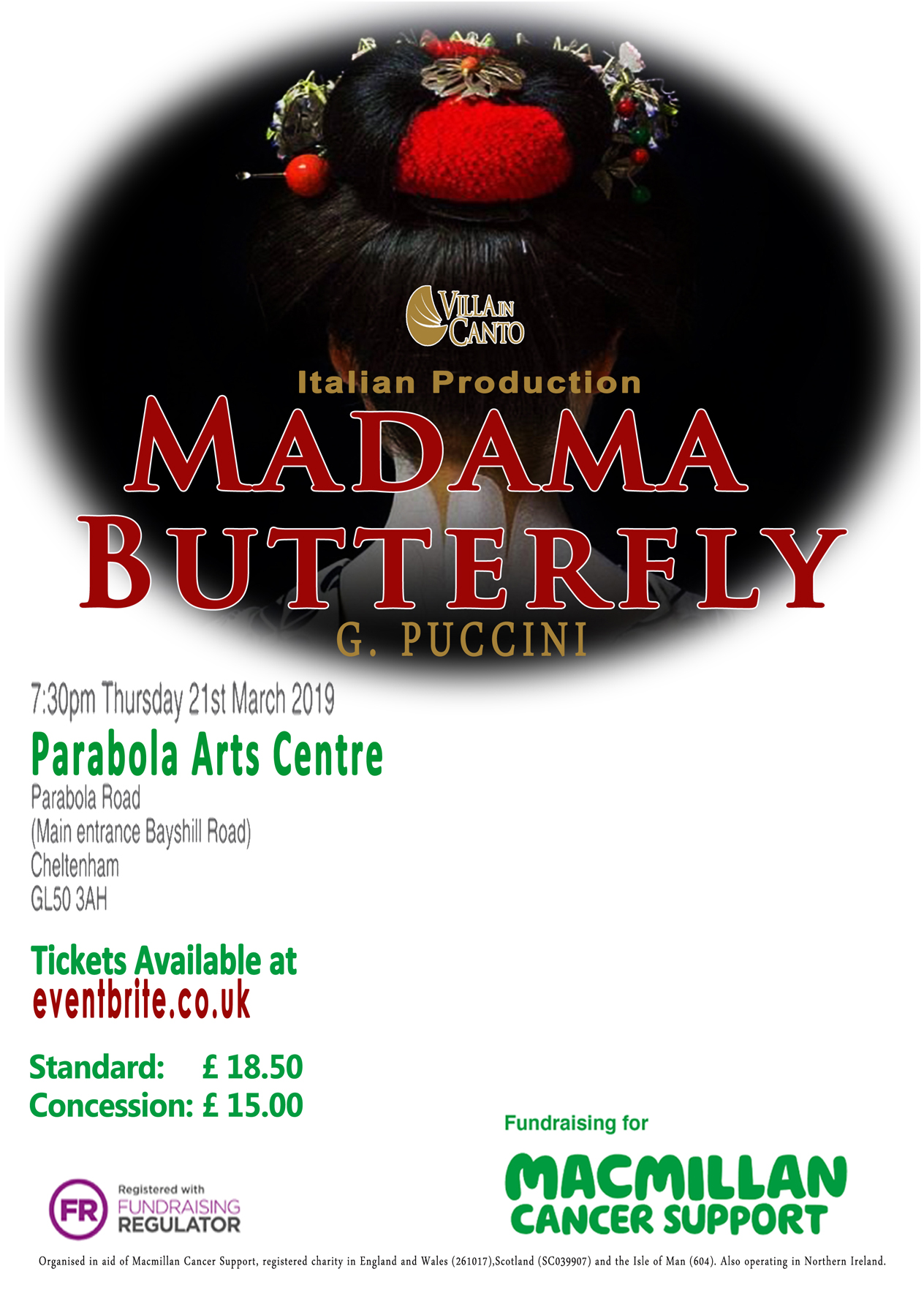 Madama Butterfly, Italian production in Aid of Macmillan Cancer Support