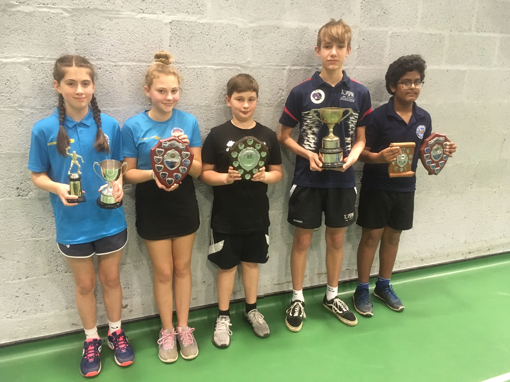 Beth Pye, Anna Cole, Harvey Gough, Alex Emms and Missaka Heenatigala at the junior, cadet and novice Championships. Picture: JOHN MCKAY