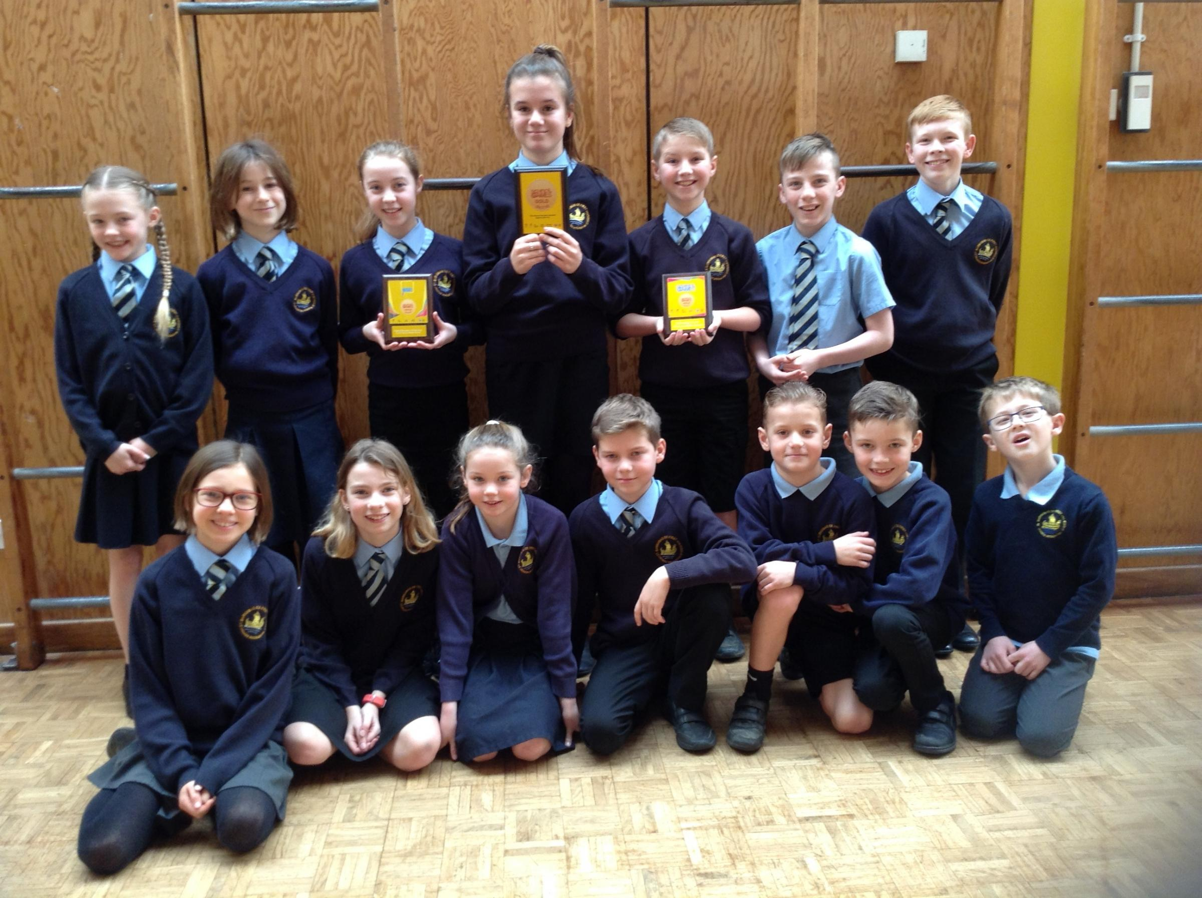 The school's sports crew with the award. Picture: ST BARNABAS FIRST AND MIDDLE SCHOOL