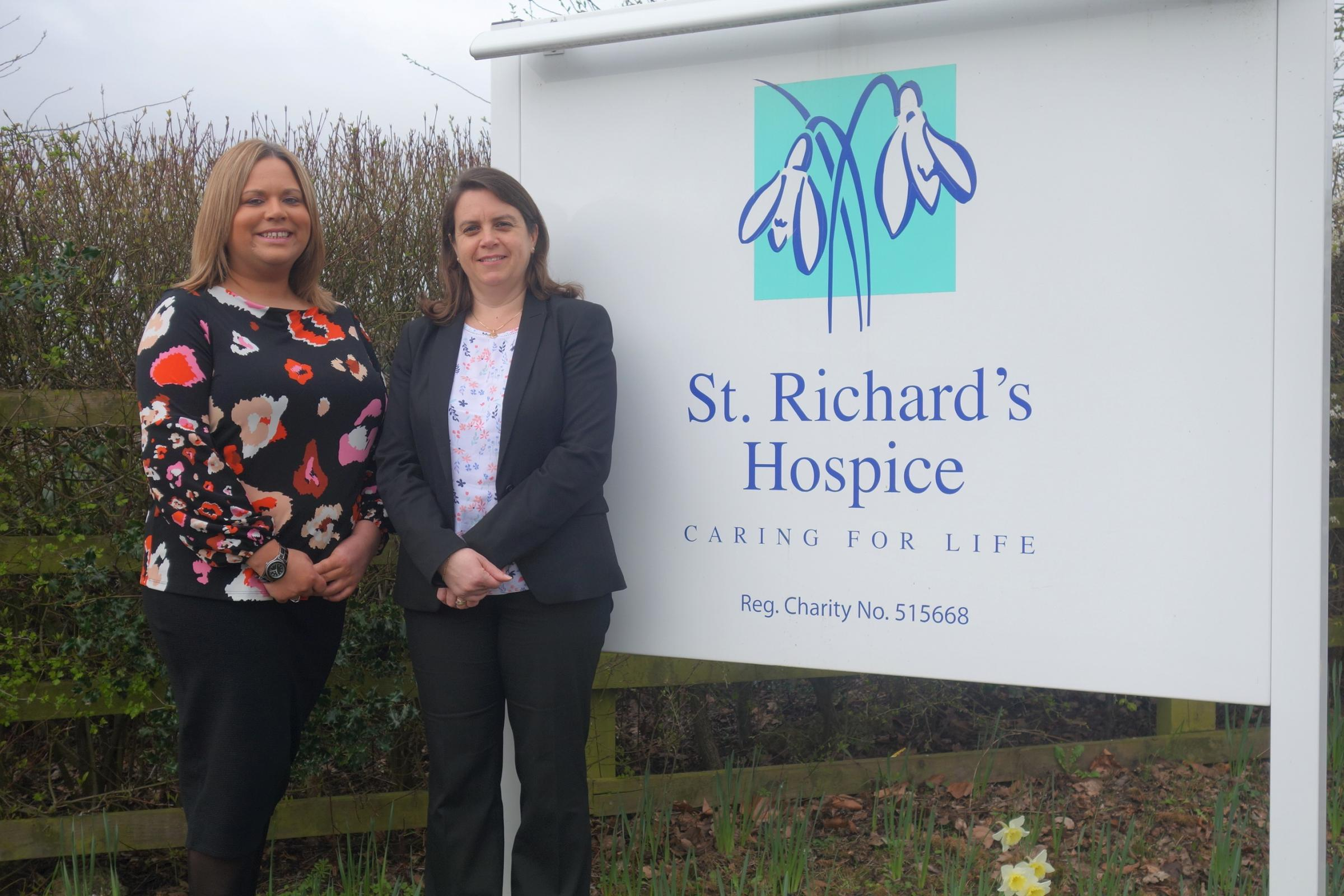 CHARITY: Ria Simons, hospice fundraiser and Amanda Piper of mfg Solicitors.JPG