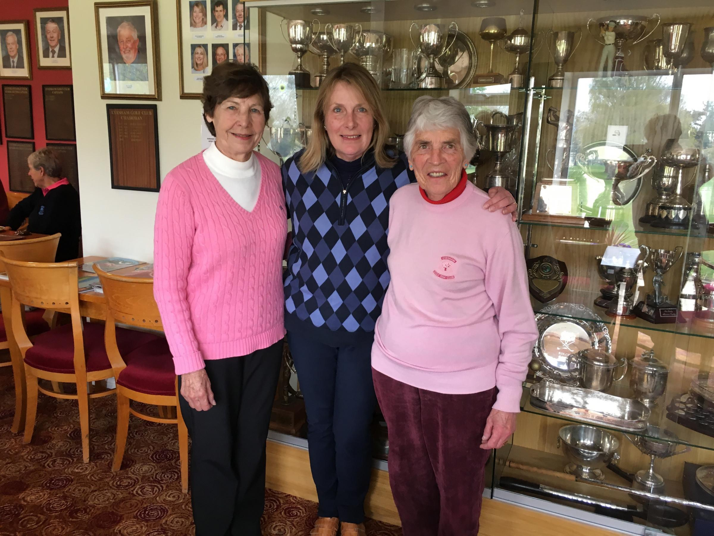 Evesham Golf Club's Vina Kite, lady captain Lesley Curnock and Carol Yates. Picture: ANGELA BUDDEN