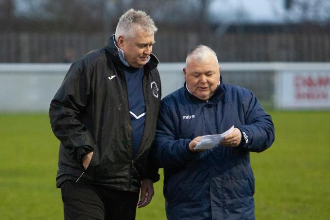 Gerry Oldham (right) with Paul Collicutt who was sacked as Evesham United manager on Tuesday. Picture: stuartpurfield.co.uk