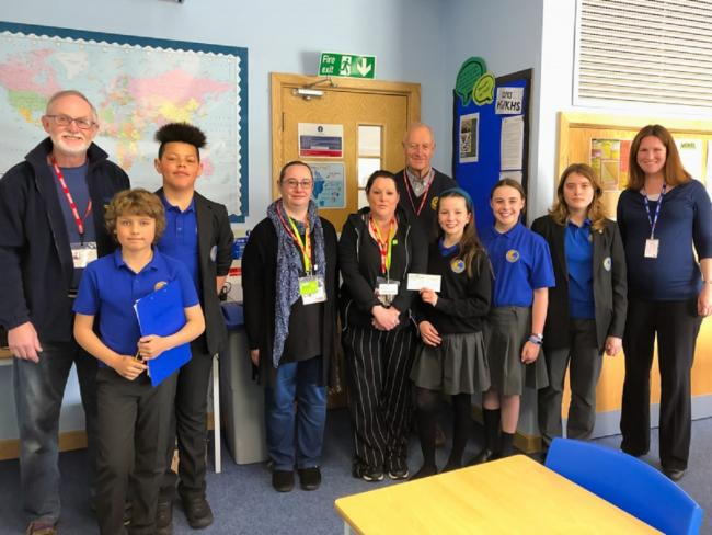 CHARITY: Members of The Cotswold School Interact Club present a cheque for £500 to Barnardo's