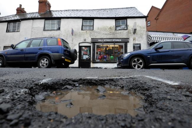A pothole on Mill Street in St James, Hereford. Photo: James Maggs.